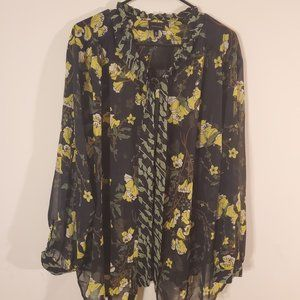 Who What Wear Plus Size Floral Green Blouse 4x